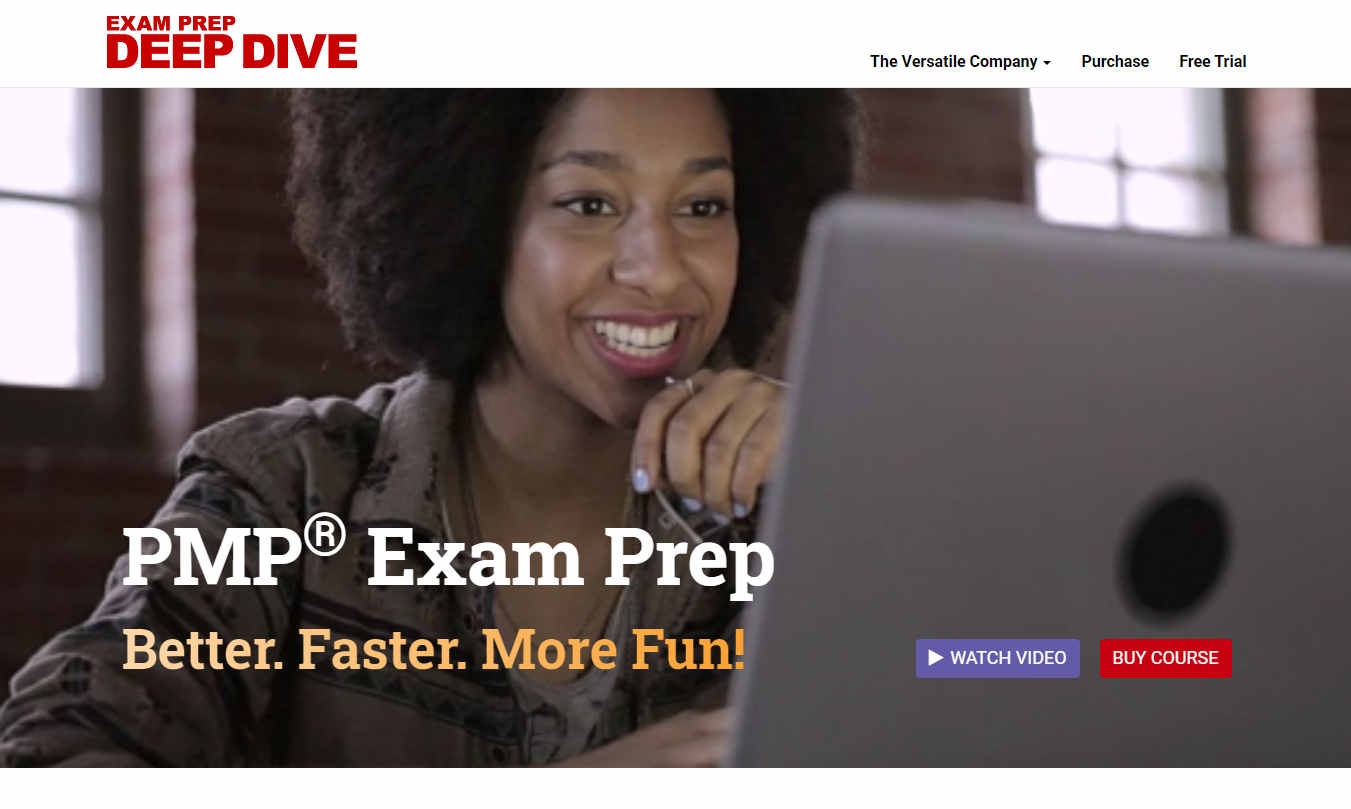 Screenshot of the Deep Dive PMP Exam Prep website showing a woman working on her laptop