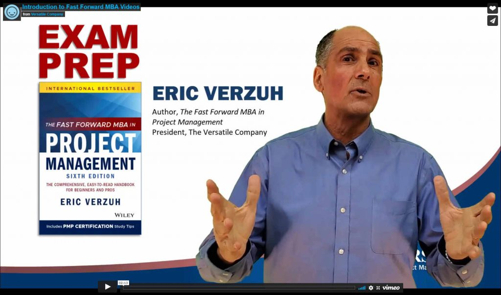 A Frame from an Exam Prep Video showing Eric Verzuh and his book