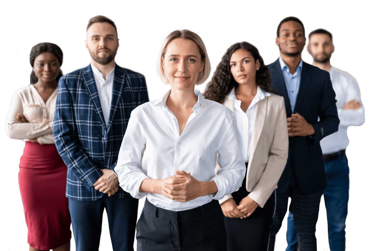 Group of business people standing and looking outward toward the viewer